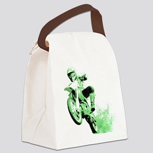 Green Dirtbike Wheeling in Mud Canvas Lunch Bag