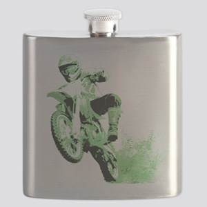 Green Dirtbike Wheeling in Mud Flask