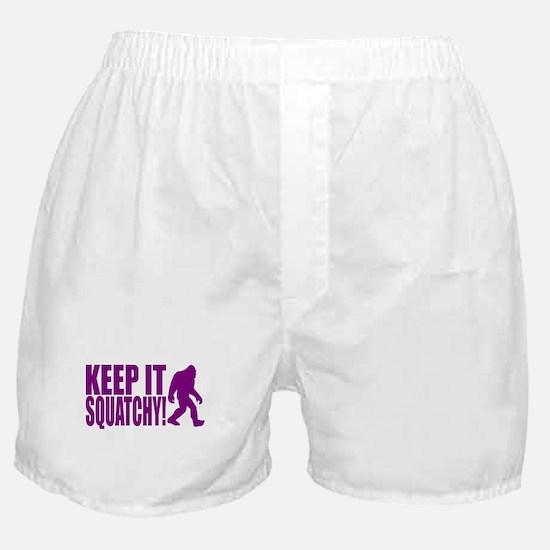 Purple KEEP IT SQUATCHY! Boxer Shorts