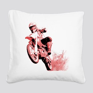 Red Dirtbike Wheeling in Mud Square Canvas Pillow