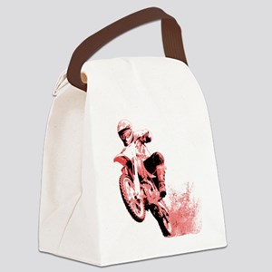 Red Dirtbike Wheeling in Mud Canvas Lunch Bag