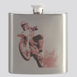 Red Dirtbike Wheeling in Mud Flask