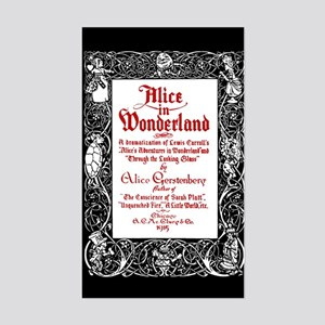 Vintage Alice Title Page Sticker (Rectangle)