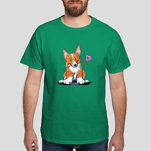 Corgi w/ Flower Dark T-Shirt