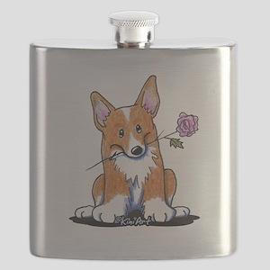Corgi w/ Flower Flask