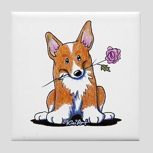 Corgi w/ Flower Tile Coaster