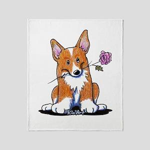 Corgi w/ Flower Throw Blanket