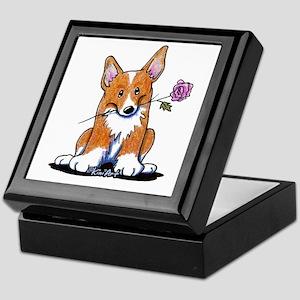 Corgi w/ Flower Keepsake Box