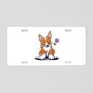 Corgi w/ Flower Aluminum License Plate