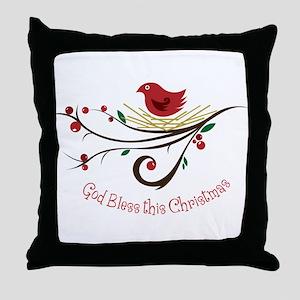 God Bless this Christmas Throw Pillow