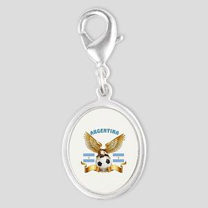 Argentina Football Design Silver Oval Charm