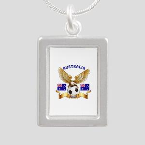 Australia Football Design Silver Portrait Necklace