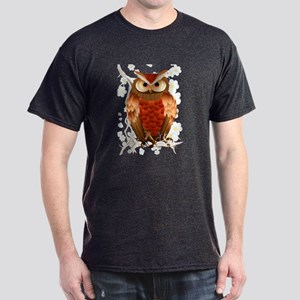 Bright Brown Owl - White Blooms-Trans Dark T-S