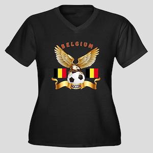 Belgium Football Design Women's Plus Size V-Neck D