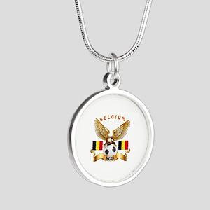 Belgium Football Design Silver Round Necklace