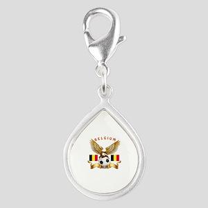 Belgium Football Design Silver Teardrop Charm