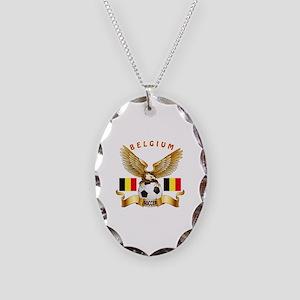 Belgium Football Design Necklace Oval Charm