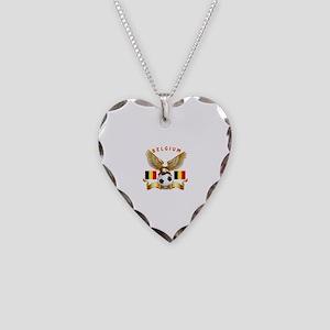 Belgium Football Design Necklace Heart Charm
