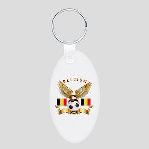 Belgium Football Design Aluminum Oval Keychain
