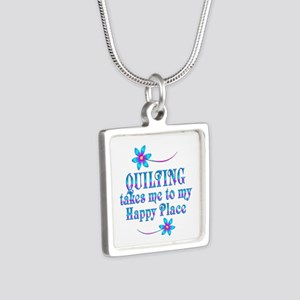 Quilting My Happy Place Silver Square Necklace