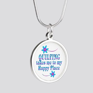 Quilting My Happy Place Silver Round Necklace