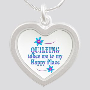 Quilting My Happy Place Silver Heart Necklace