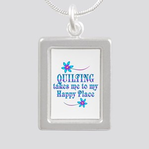 Quilting My Happy Place Silver Portrait Necklace
