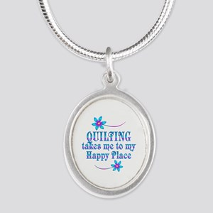 Quilting My Happy Place Silver Oval Necklace