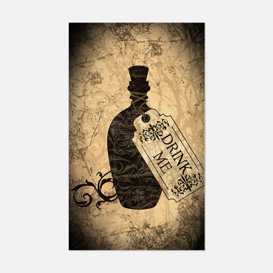 Drink Me Bottle Worn Sticker (Rectangle)