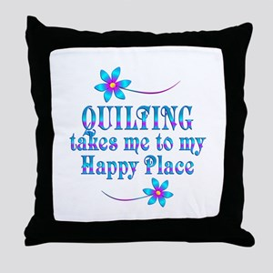Quilting My Happy Place Throw Pillow