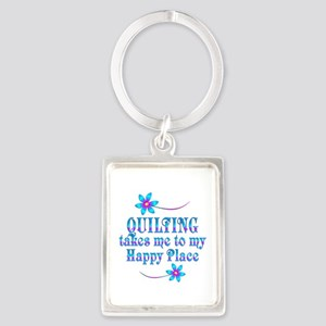 Quilting My Happy Place Portrait Keychain