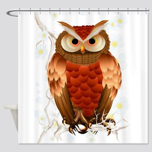 Bright Brown Owl - White Blooms-Trans Shower C