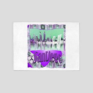 sandiego city art illustration 5'x7'Area Rug