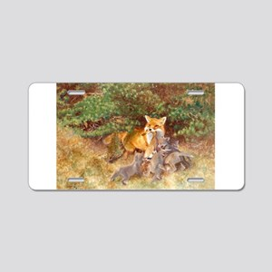 Painting of Momma Fox and Kits Aluminum License Pl