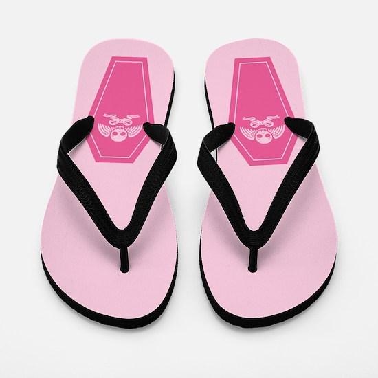 Cute Pink Coffin Flip Flops