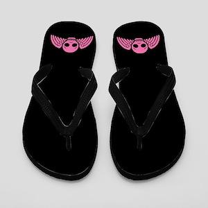 Cute Pink Winged Skull Flip Flops