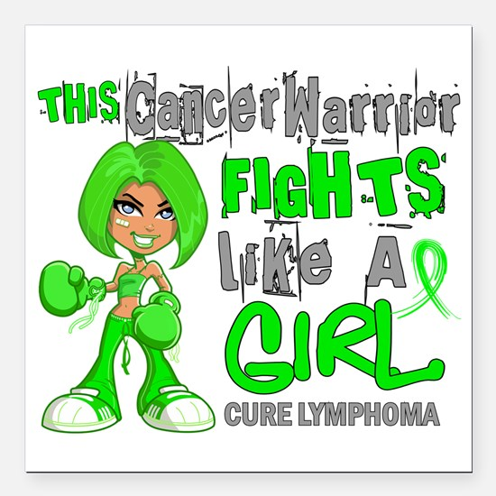 Fights Like a Girl 42.9 Lymphoma Square Car Magnet