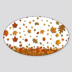 Falling Leaves Oval Sticker