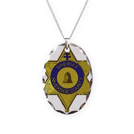Riverside County Sheriff badge Necklace Oval Charm