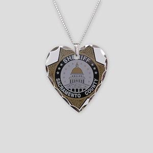 Sacramento County Sheriff badge Necklace Heart Cha