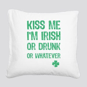 Funny Kiss Me I'm... Square Canvas Pillow