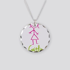 Caitlin-cute-stick-girl Necklace Circle Charm