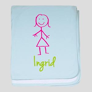 Ingrid-cute-stick-girl baby blanket