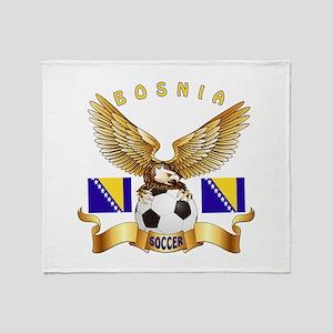 Bosnia Football Design Throw Blanket