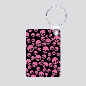 Random Pink Skulls Aluminum Photo Keychain