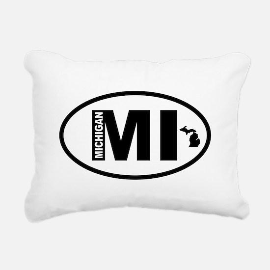 Michigan Map Rectangular Canvas Pillow