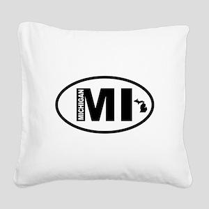 Michigan Map Square Canvas Pillow