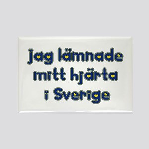"""I left my heart in Sweden!"" Rectangle Magnet"