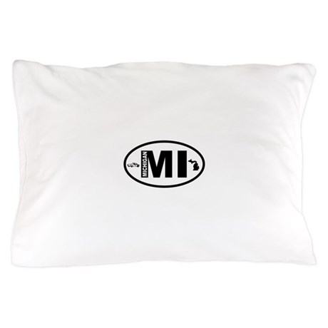 Michigan Car and Map Pillow Case