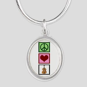 Peace Love Cello Silver Oval Necklace